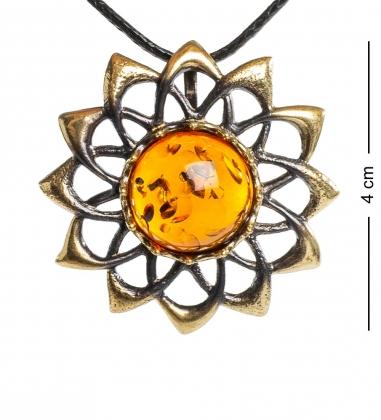 AM-1218 Подвеска  Солнышко   латунь, янтарь