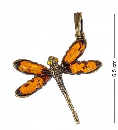AM-1219 Подвеска  Стрекоза   латунь, янтарь