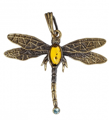 AM-1221 Подвеска  Стрекоза со стразом   латунь, янтарь