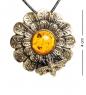 AM-1224 Подвеска  Хризантема с пчелкой   латунь, янтарь