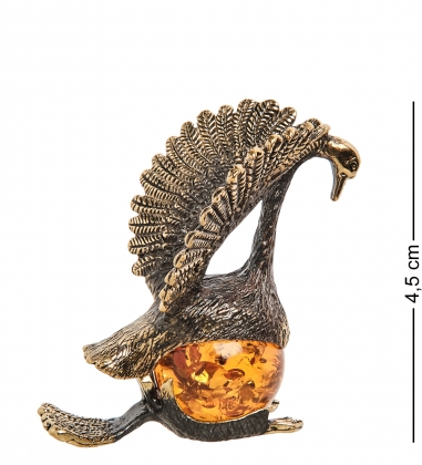 AM-1239 Фигурка  Лебедь   латунь, янтарь