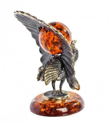 AM-1245 Фигурка  Павлин   латунь, янтарь