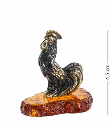 AM-1249 Фигурка  Петушок золотой гребешок   латунь, янтарь