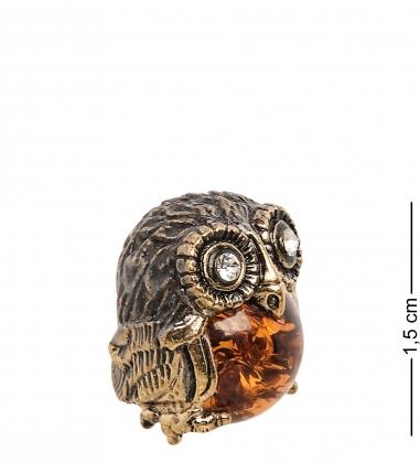AM-1251 Фигурка  Совёнок   латунь, янтарь