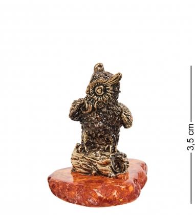 AM-1253 Фигурка  Филин на пне   латунь, янтарь