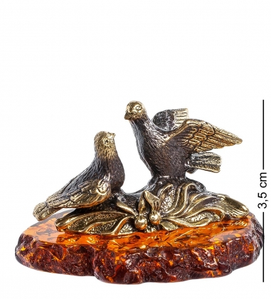 AM-1256 Фигурка  Голубки Влюбленные   латунь, янтарь