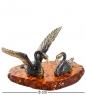 AM-1258 Фигурка  Пара лебедей   латунь, янтарь