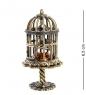 AM-1260 Фигурка  Птичка в клетке   латунь, янтарь