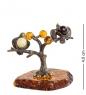AM-1261 Фигурка  Синички на дереве   латунь, янтарь