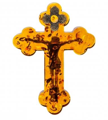 AM-1262 Фигурка  Распятие Иисуса Христа   латунь, янтарь