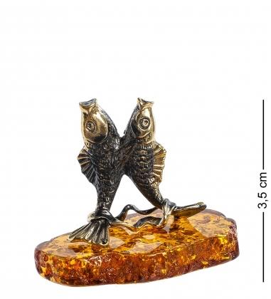 AM-1267 Фигурка  Рыбы   латунь, янтарь