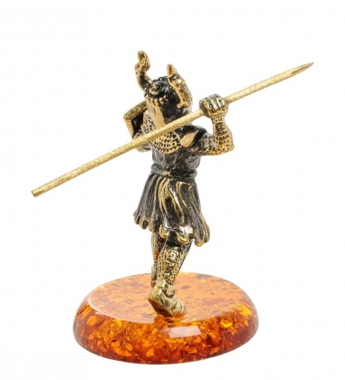 AM-1277 Фигурка  Рыцарь с копьем   латунь, янтарь