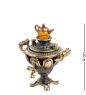 AM-1281 Фигурка  Самовар ажурный   латунь, янтарь