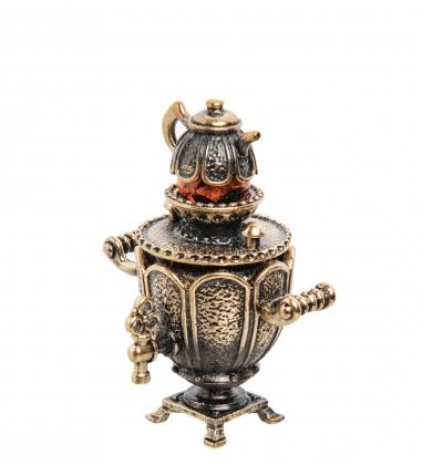 AM-1283 Фигурка  Самовар   латунь, янтарь