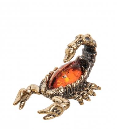 AM-1290 Фигурка  Скорпиончик   латунь, янтарь