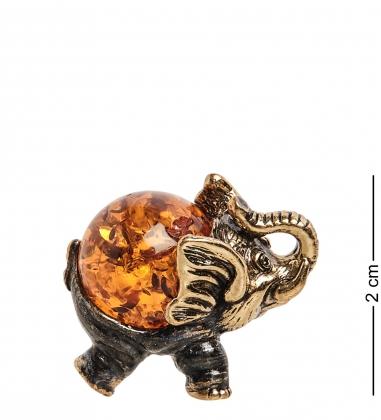 AM-1291 Фигурка  Слон   латунь, янтарь