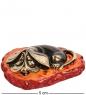 AM-1295 Фигурка  Спящий Бассет   латунь, янтарь