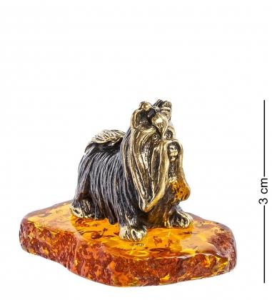 AM-1297 Фигурка  Болонка   латунь, янтарь