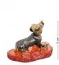 AM-1319 Фигурка  Такса на скамейке   латунь, янтарь