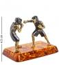 AM-1332 Фигурка  Боксеры   латунь, янтарь