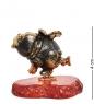 AM-1337 Фигурка  Медведь конькобежец   латунь, янтарь