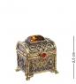 AM-1345 Фигурка  Сундук расписной   латунь, янтарь