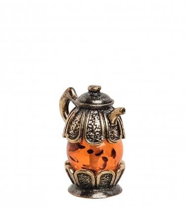 AM-1355 Фигурка  Чайник Ромашка   латунь, янтарь