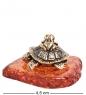 AM-1357 Фигурка  Черепаха и лягушонок   латунь, янтарь