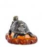 AM-1358 Фигурка  Черепаха средиземноморская   латунь, янтарь