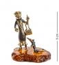 AM-1362 Фигурка  Шапокляк и Лариска   латунь, янтарь
