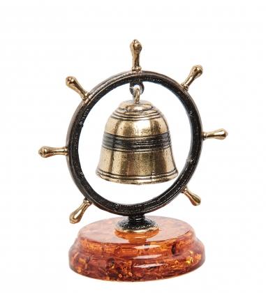 AM-1363 Фигурка  Штурвал с колокольчиком   латунь, янтарь