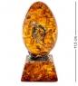 AM-1365 Фигурка  Яйцо с цветами   латунь, янтарь