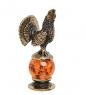 AM-1372 Фигурка  Глухарь   латунь, янтарь