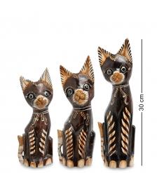 99-246 Фигурка  Кошка  н-р из трех 30,25,20 см  албезия, о.Бали