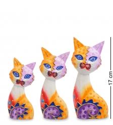 99-255 Фигурка  Кошка  н-р из трех 17,15,12 см  албезия, о.Бали