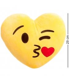 EK-02 Подушка-сердце  Смайлик Поцелуй