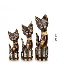 99-073 Фигурка  Кошка  н-р из трех 30,25,20 см  албезия, о.Бали
