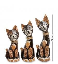 99-087 Фигурка  Кошка  н-р из трех 30,25,20 см  албезия, о.Бали