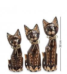 99-094 Фигурка «Кошка» н-р из трех 30,25,20 см  албезия, о.Бали