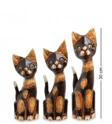 99-101 Фигурка «Кошка» н-р из трех  30,25,20 см  албезия, о.Бали