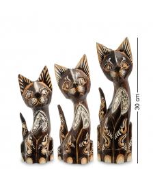 99-178 Фигурка  Кошка  н-р из трех 30,25,20 см  албезия, о.Бали