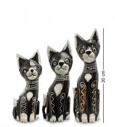 99-205 Фигурка  Кошка  н-р из трех 30,25,20 см  албезия, о.Бали