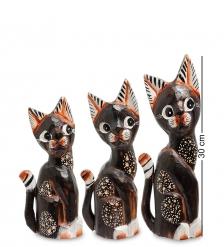 99-212 Фигурка  Кошка  н-р из трех 30,25,20 см  албезия, о.Бали