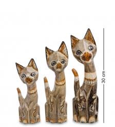 99-233 Фигурка  Кошка  н-р из трех 30,25,20 см  албезия, о.Бали