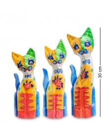 99-275 Фигурка  Кошка  н-р из трех 30,25,20 см  албезия, о.Бали