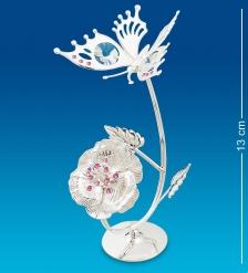 AR-1387 Фигурка Бабочка на цветке посеребр.  Юнион