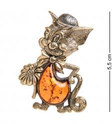 AM-2093 Брошь «Кот Том»  латунь, янтарь