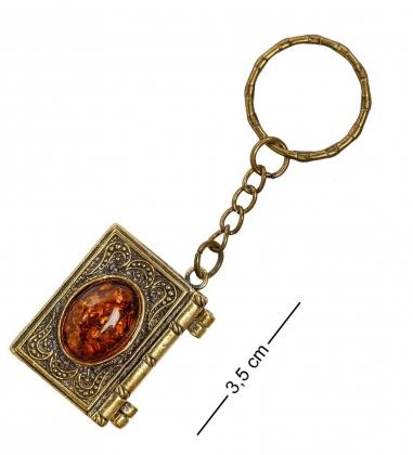 AM-2072 Брелок  Книга Тайн   латунь, янтарь