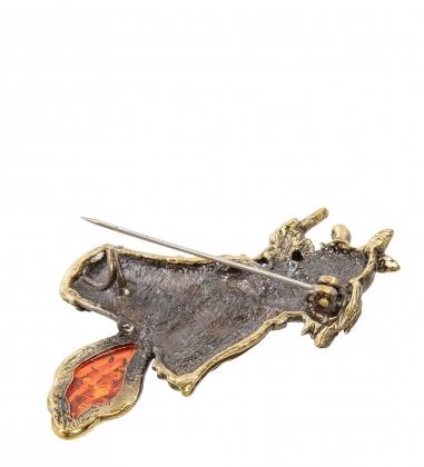 AM-2078 Брошь  Баба Яга   латунь, янтарь