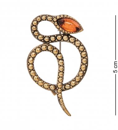 AM-2089 Брошь Змея гремучая  латунь, янтарь